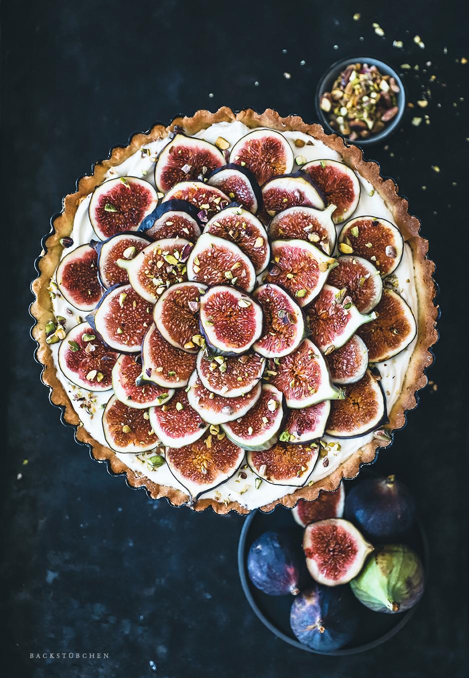 Feigen-Tarte mit knusprigem Mürbeteigboden von Oben