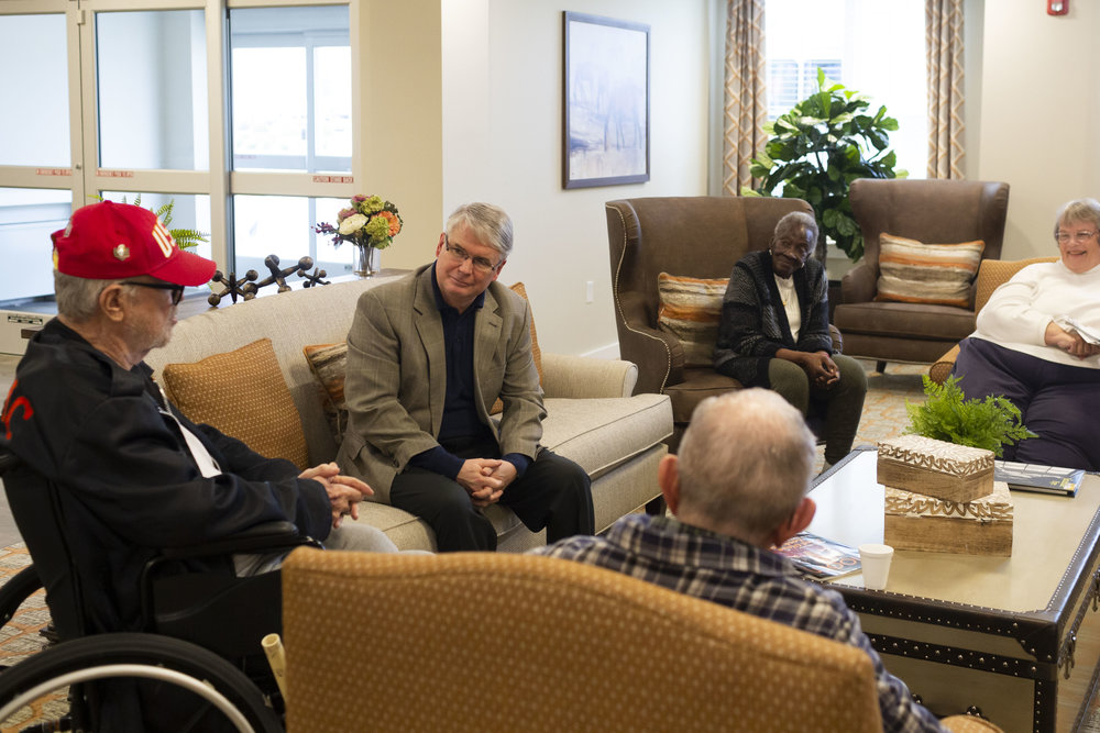 John meeting with residents at Evergreen Village, Bloomington's first Medicaid-accepting assisted living facility. Evergreen Village opened in the summer of 2018.