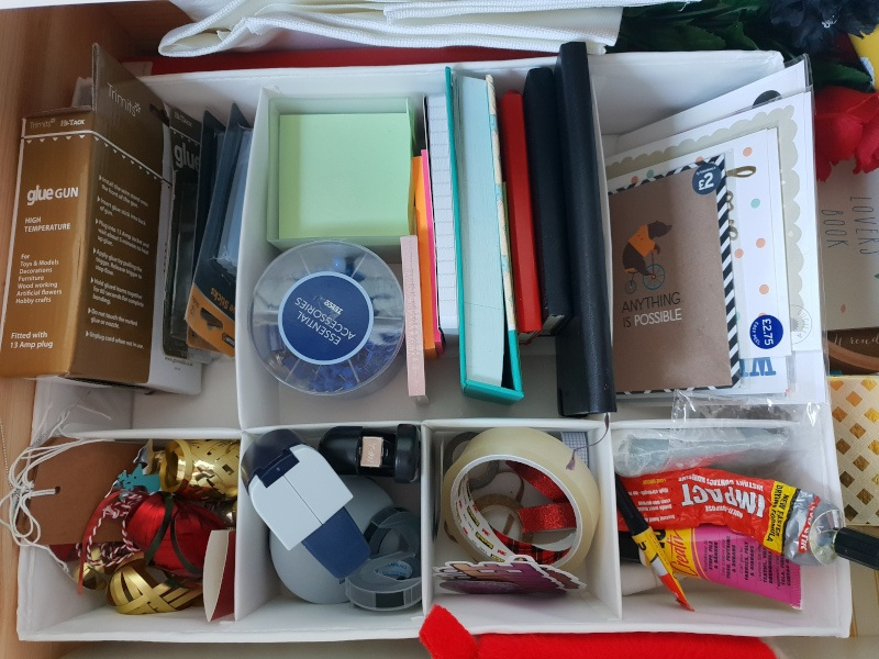 Organised craft and wrapping drawer