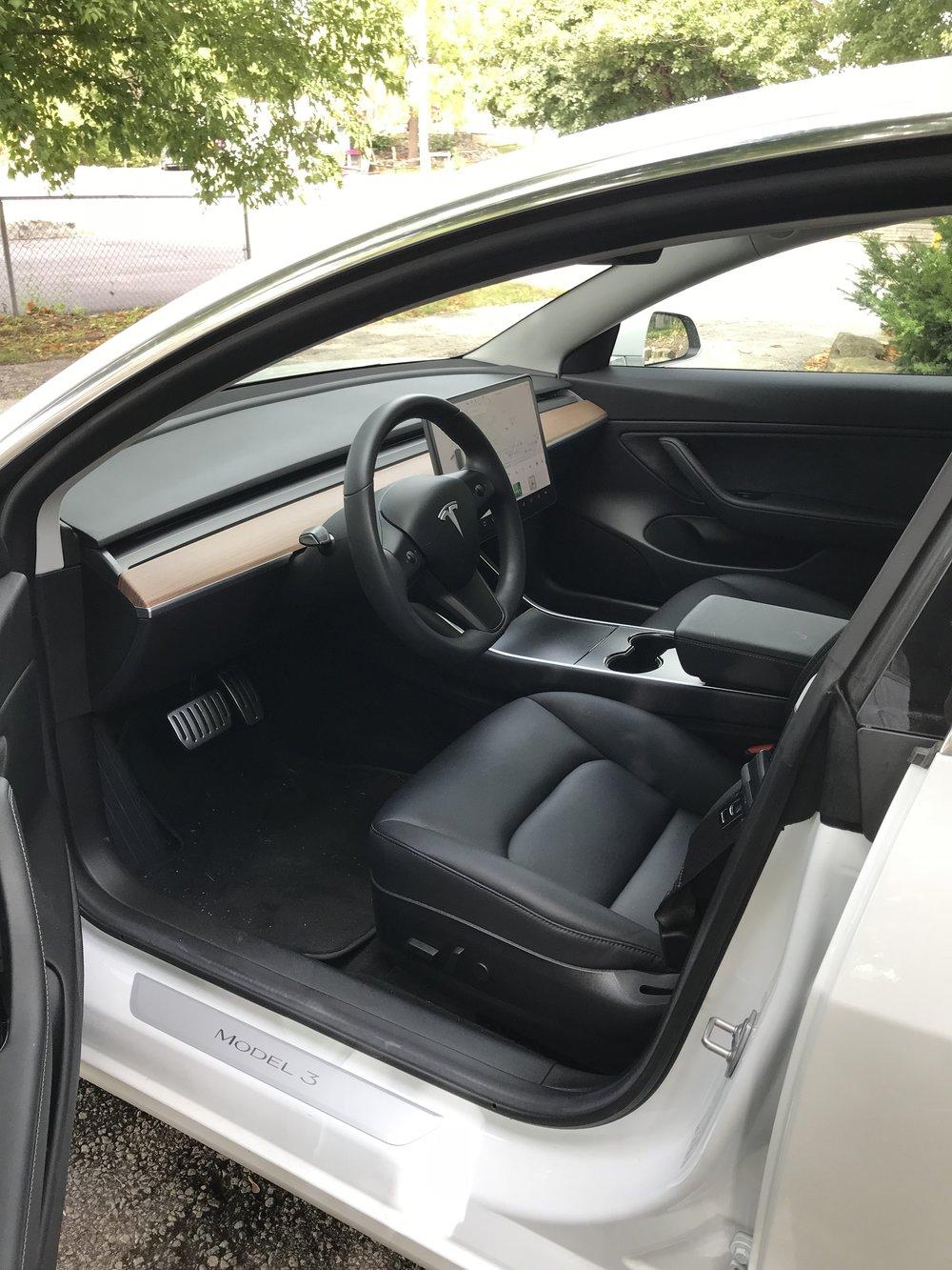 Black interior on Model 3