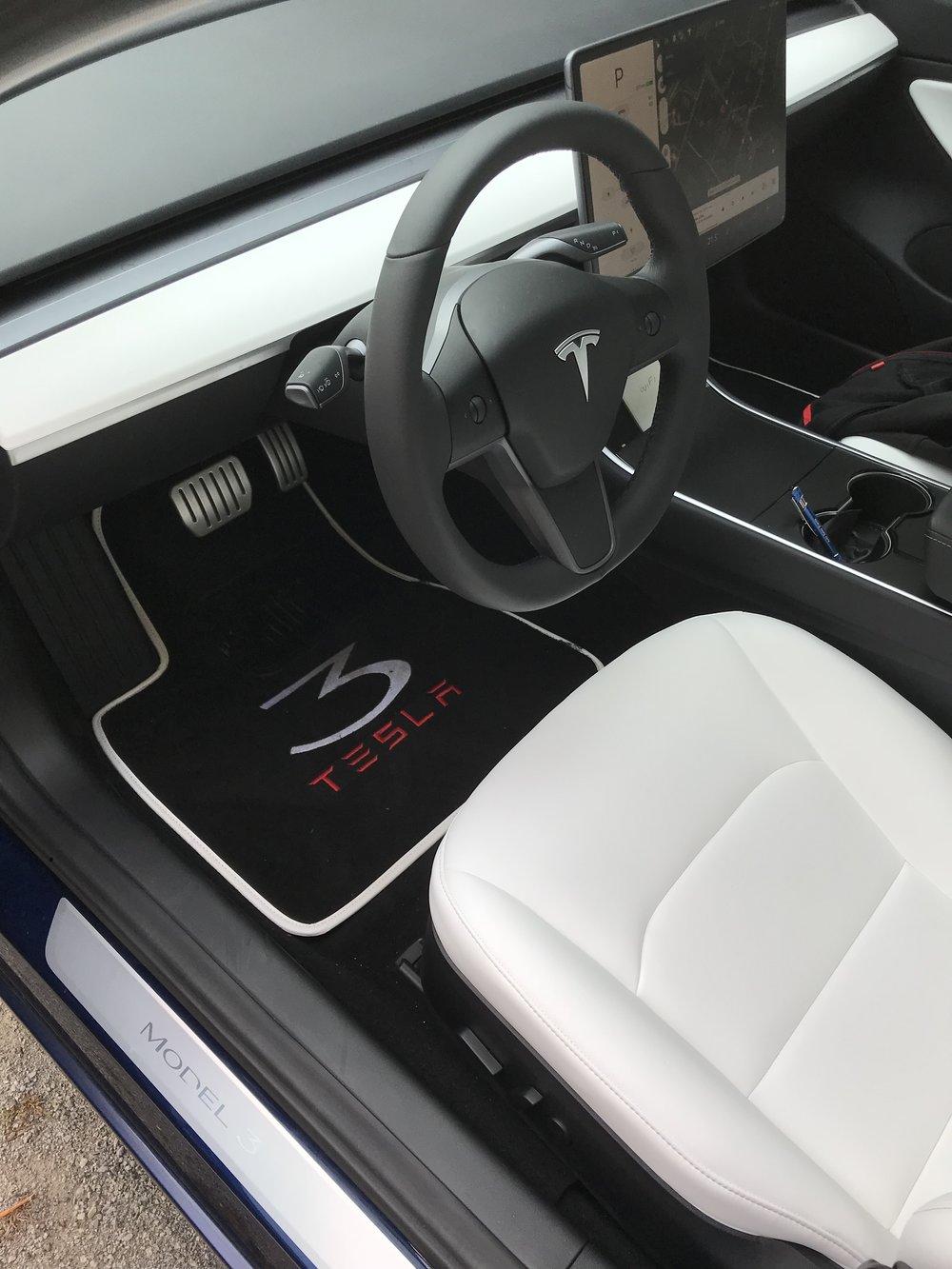 White interior on Model 3