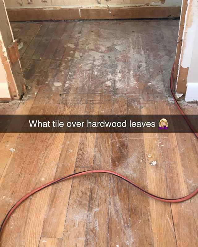 Y'all don't tile over hardwood please! . . . . . #diy #house #photography #art #interior #homedesign #carpentry #designer #construction #kitchen #interiordesigner #interiordesign #design #luxury #homeimprovement #homedecor #home #renovation #architecture #bathroom #homesweethome #realestate #decor #remodel #kitchendesign #contractor #love #inspiration #interiors #building