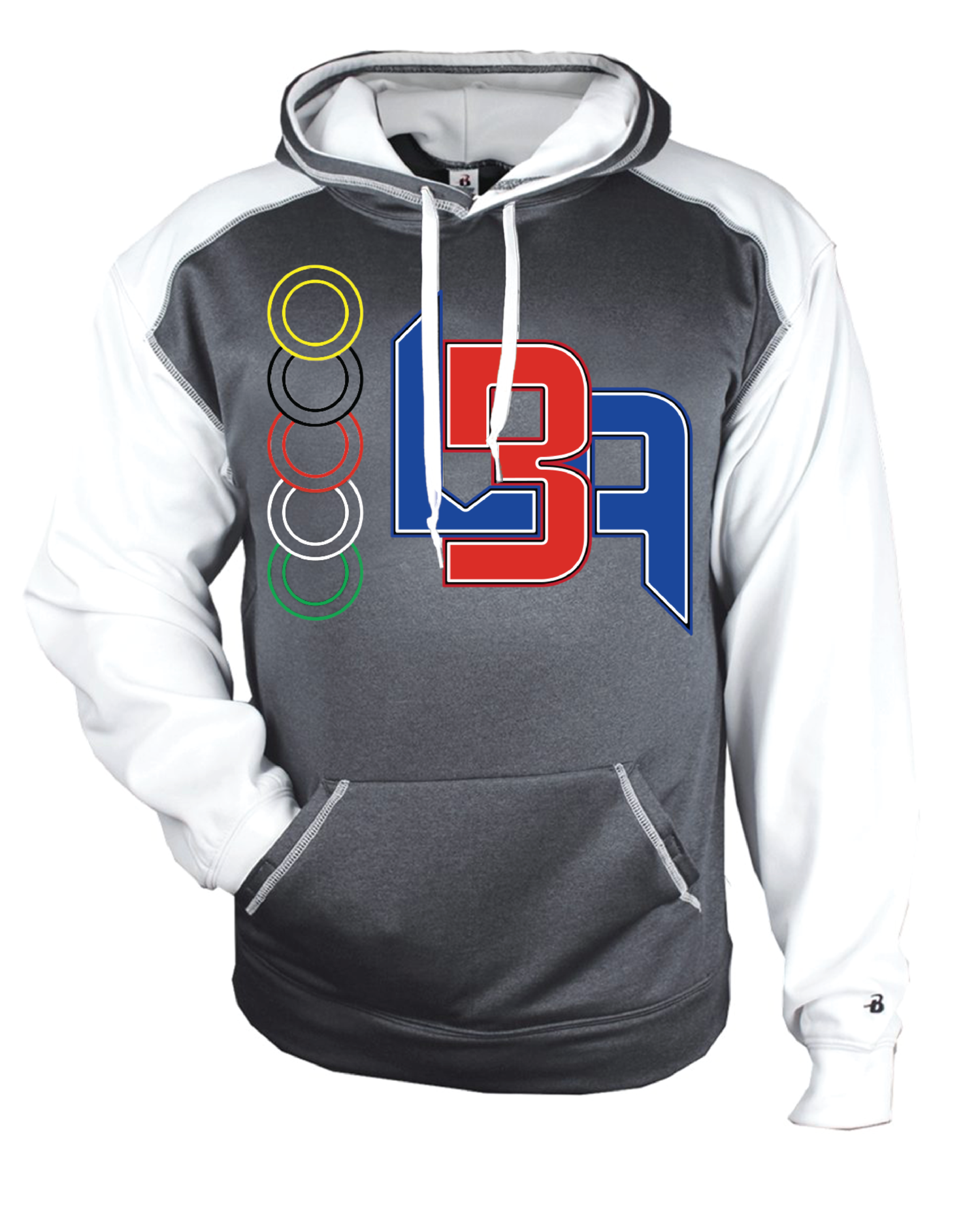 6c2e9c19 LBA Hoodie in Carbon Heather/White — Luke's Baseball Academy