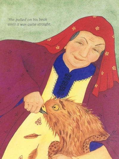 """She pulled on his Beak Until It was quite straight."" Another Illustration by Natasha Delmar from The Old Woman and the Eagle."