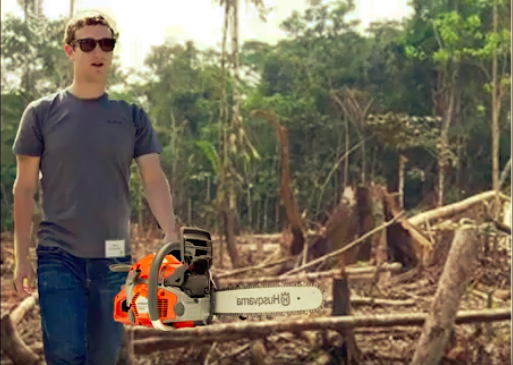 Mark Zuckerberg Cutting Down Trees In a Rain Forest