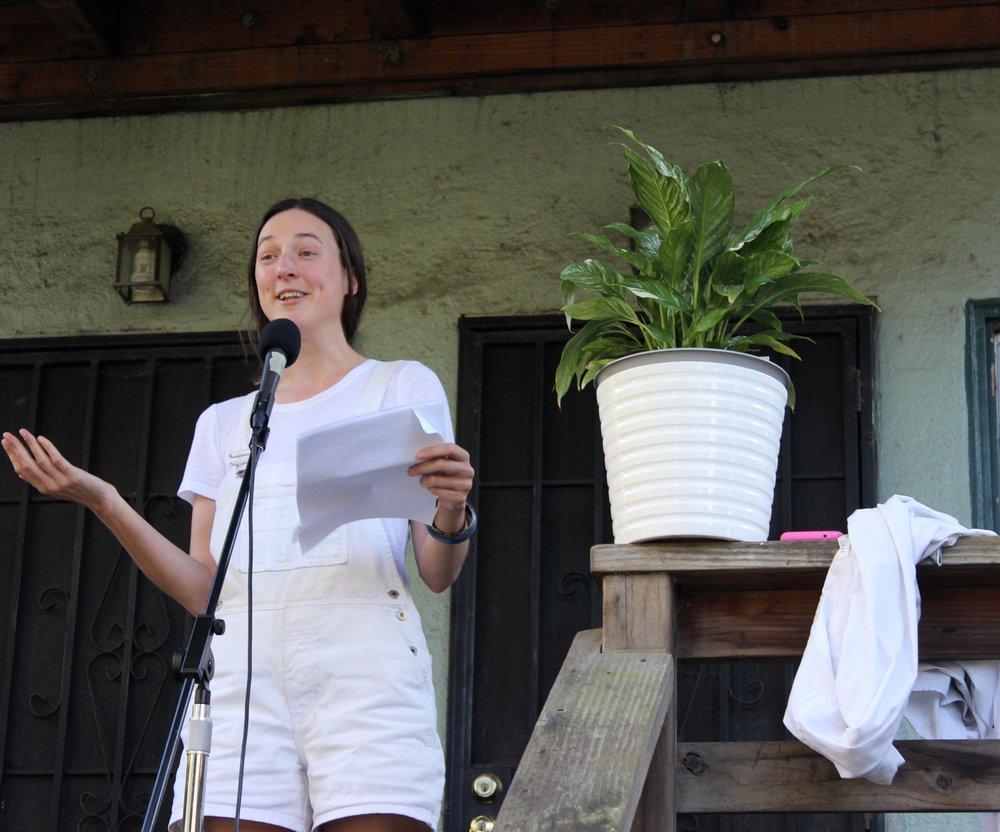 Sophia Dahlin reads poetry on March 16th, 2019 in the Oak Center neighborhood of West Oakland