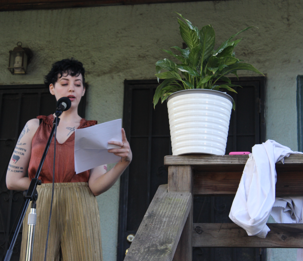 Liv max reads poetry on March 16th, 2019 in the oak center neighborhood of west oakland
