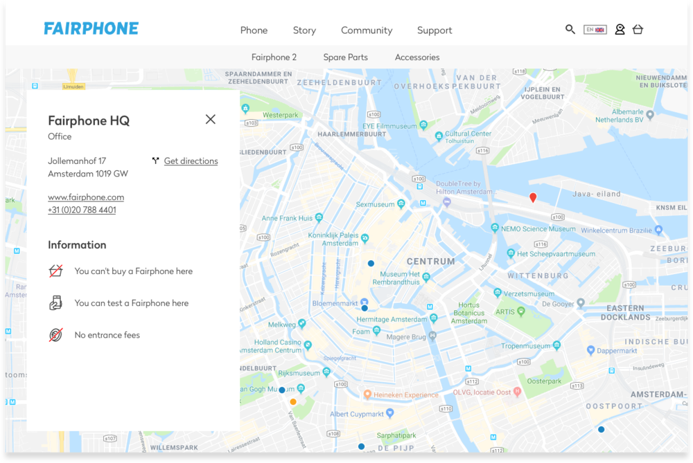 Fairphone new store locator