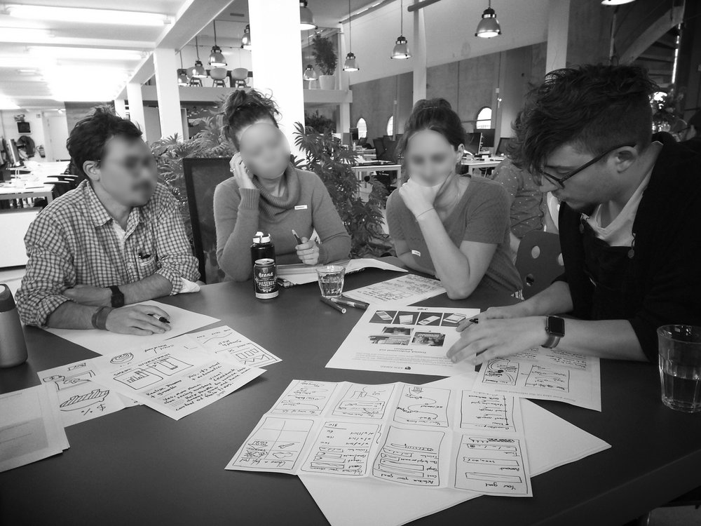 Group work made during an Amsterdam UX meetup in 2018 – picture made by the meetup team
