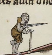 [An individual with a bandaged leg with amputated foot on a small crutch, using a larger crutch with the opposing arm, and holding a sword in preparation to attack.]
