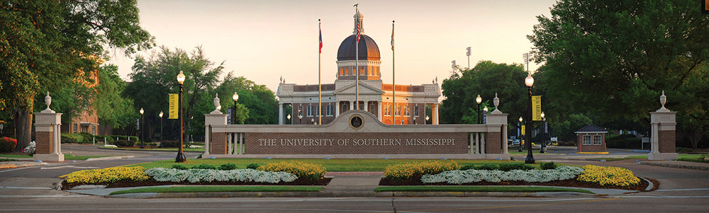 The fancy/formal entrance to the University of Southern Mississippi, Hattiesburg campus.