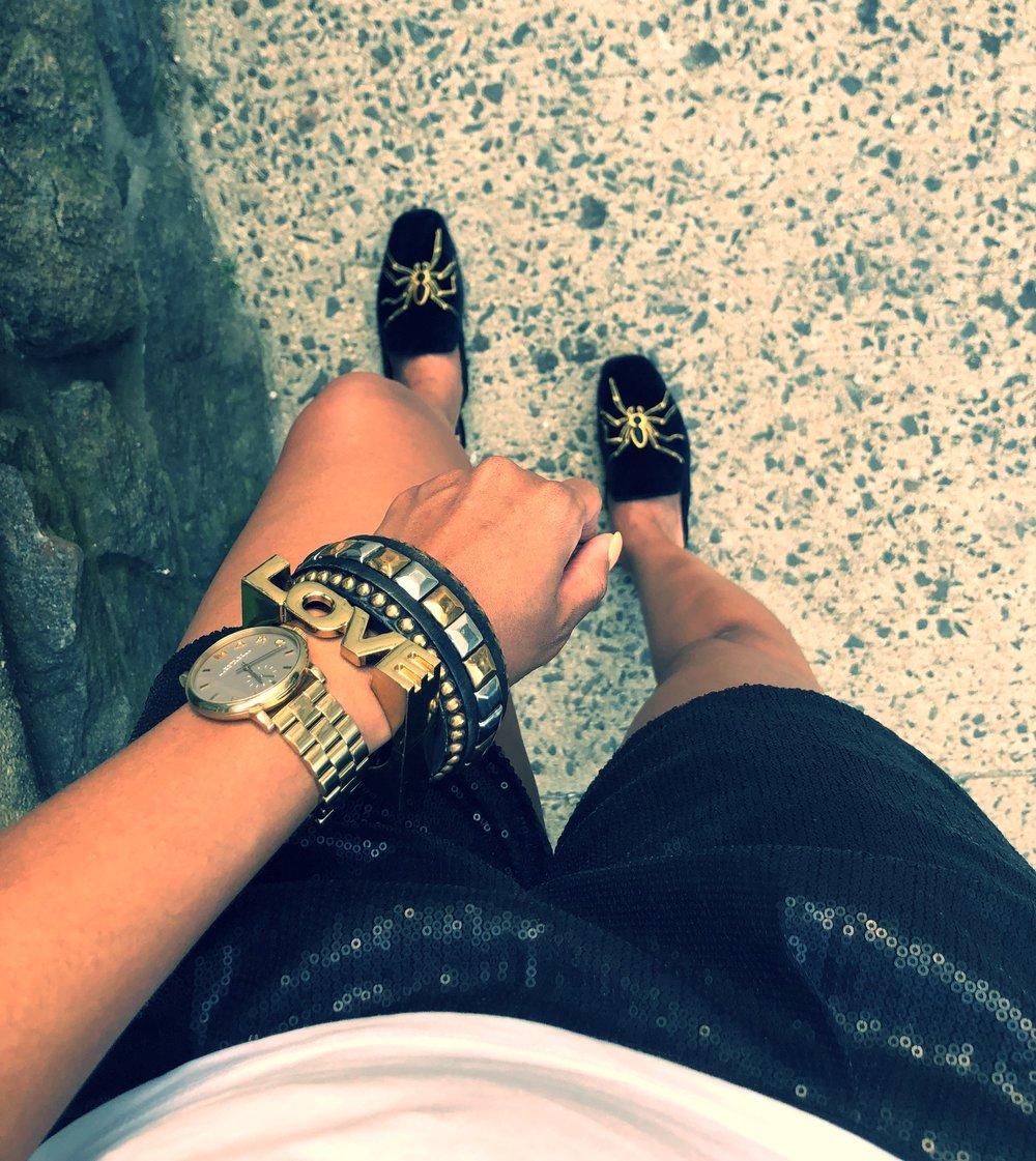 Shoe change so I can walk home lol. {Zara spider slides}