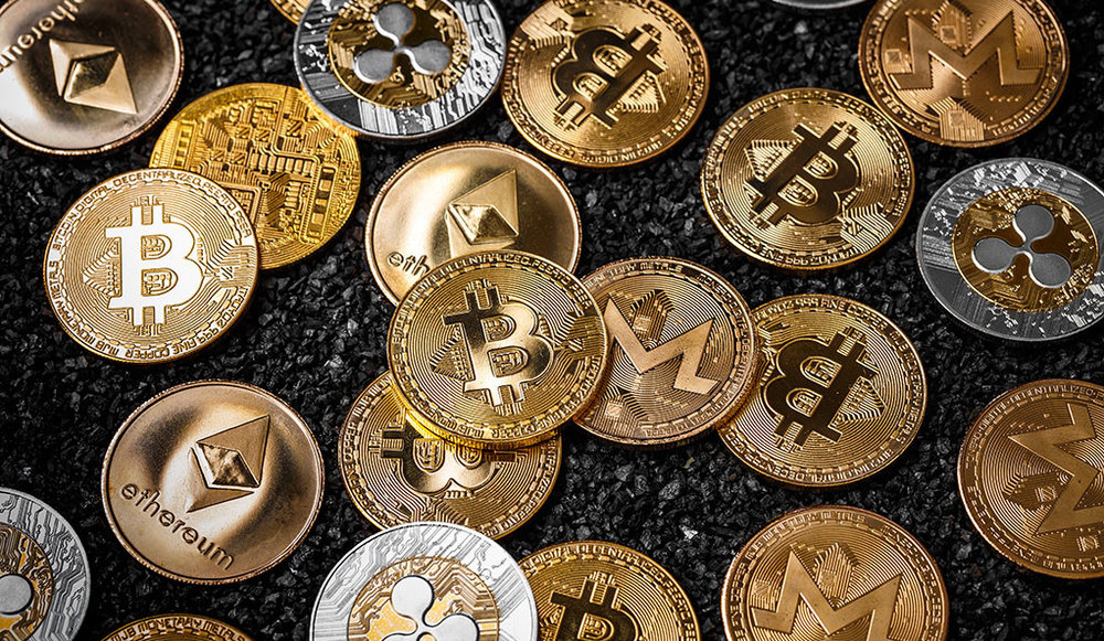 Collection of cryptocurrencies including Bitcoin and Ethereum.
