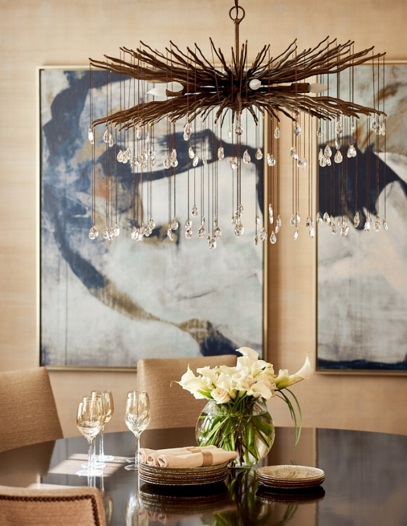 An elegant combination of finishes, lighting, and art is just part of the completion for our client's dining room project.  Interior design combines both concept and craftsmanship to bring forth results.