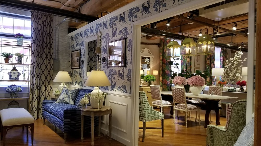 One of my favorite showrooms, Thibaut and Anna French, offers a stunning array of side chairs and dining room seating.  I like to think we find selections which extend an invitation to linger around the table.  I'm in the process of letting go of some French antique chairs and I think their Stirling Chair is in the finals.  Very comfortable and I love the Dorothy Draper-esque leaning.  Dressy-casual is so me!