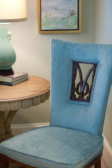 "I love pieces with a history.  And I love having a history with whom I work.  Before these clients relocated, we finished a guest bedroom by marrying some vintage and new pieces.  This chair is one of a pair I found in one of my special ""no-tell"" spots.  (Yes, it's sacred time for designers to curate and develop trades sources.)  These happened to come from a well-known family estate and were covered in a faded and torn apricot silk.  They had a modern edge and the carved wood insert - OMG so perfect!  Our upholsterers, brothers, were used to handling antiques so I scooped them up.  We had a long history together.  Sadly, in late 2017, one of them lost their battle with cancer and the shop is now closed.  We've had to move on to address our client's needs, but I'm thinking of his family with a heavy heart as we began working with his father, at the start-up of our firm, and know how much they're missing him.  Business IS personal."