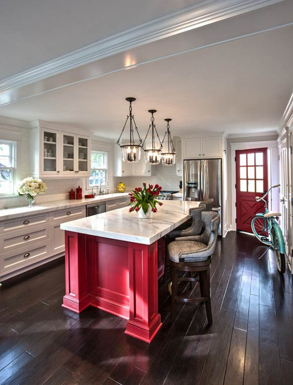 I am in love with this kitchen by  Anne Sneed Architectural Interiors .  Her work in this Coronado Cottage is a bit closer to my aesthetic.  I've chosen to reverse the depth of color on the floor to the counter and vice versa.  I may be inspired to paint my side entry door with the island red, too!