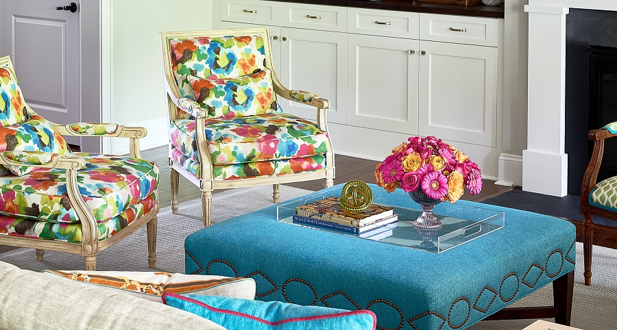 Colorful living room with ottoman