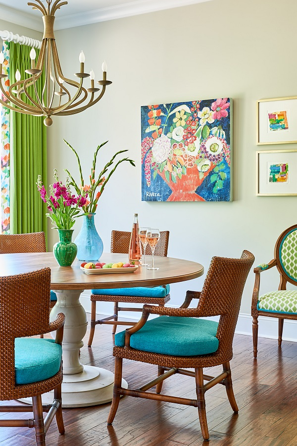 Casual dining room with colorful art