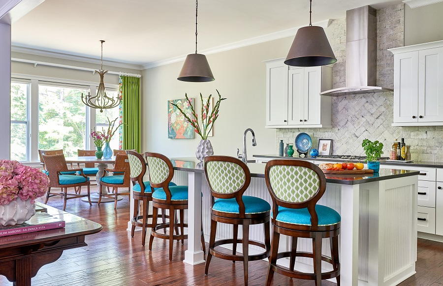 Colorful interiors open kitchen and dining plan