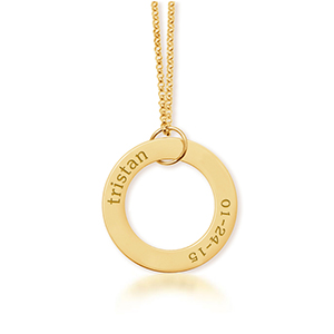 14K Gold Circle Pendant with Name and Birthday  Available in 14k yellow gold, 14k rose gold and 14k white gold. Pendant is 1″ in diameter and hangs on 14k gold diamond cut chain that will match color of the pendant.