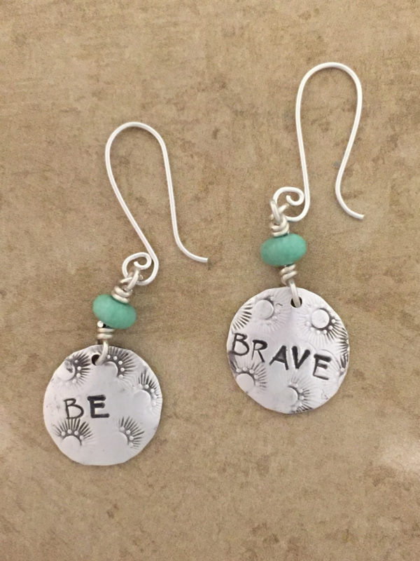 "Be Brave Earrings   Simple and empowering, these ""be brave"" earrings will help nudge you along on your journey of bravery and authenticity. These lovelies are perfect for every day wear. The sea green varicite gemstone adds a delightful pop of color. $112.00"