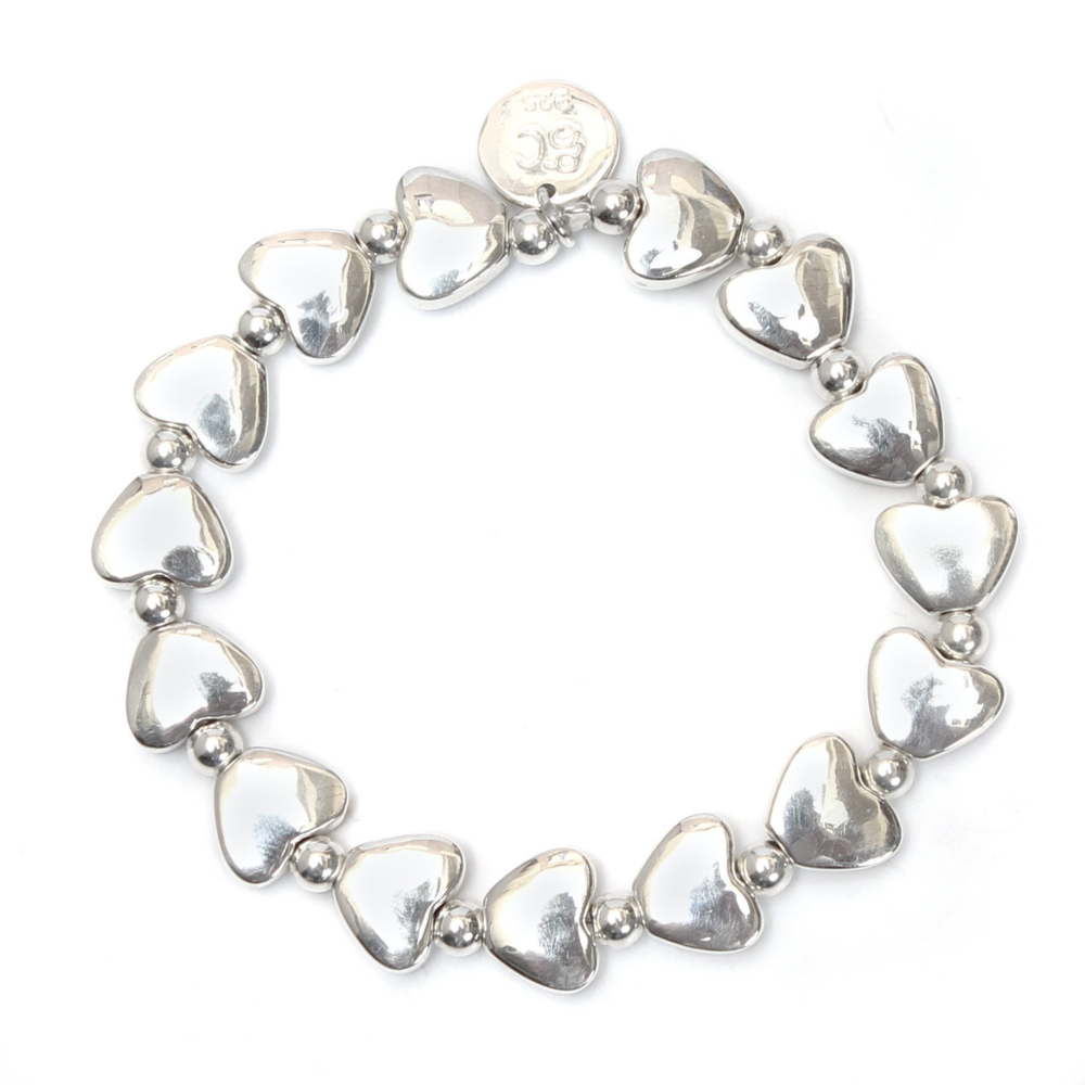 "Love Bracelet  The heart is a symbol of love and friendship. This single strand Love Bracelet evokes connection and eternity. Sterling silver beads, single stretch band bracelet, 2.5"" diameter, hand-crafted in Bali."