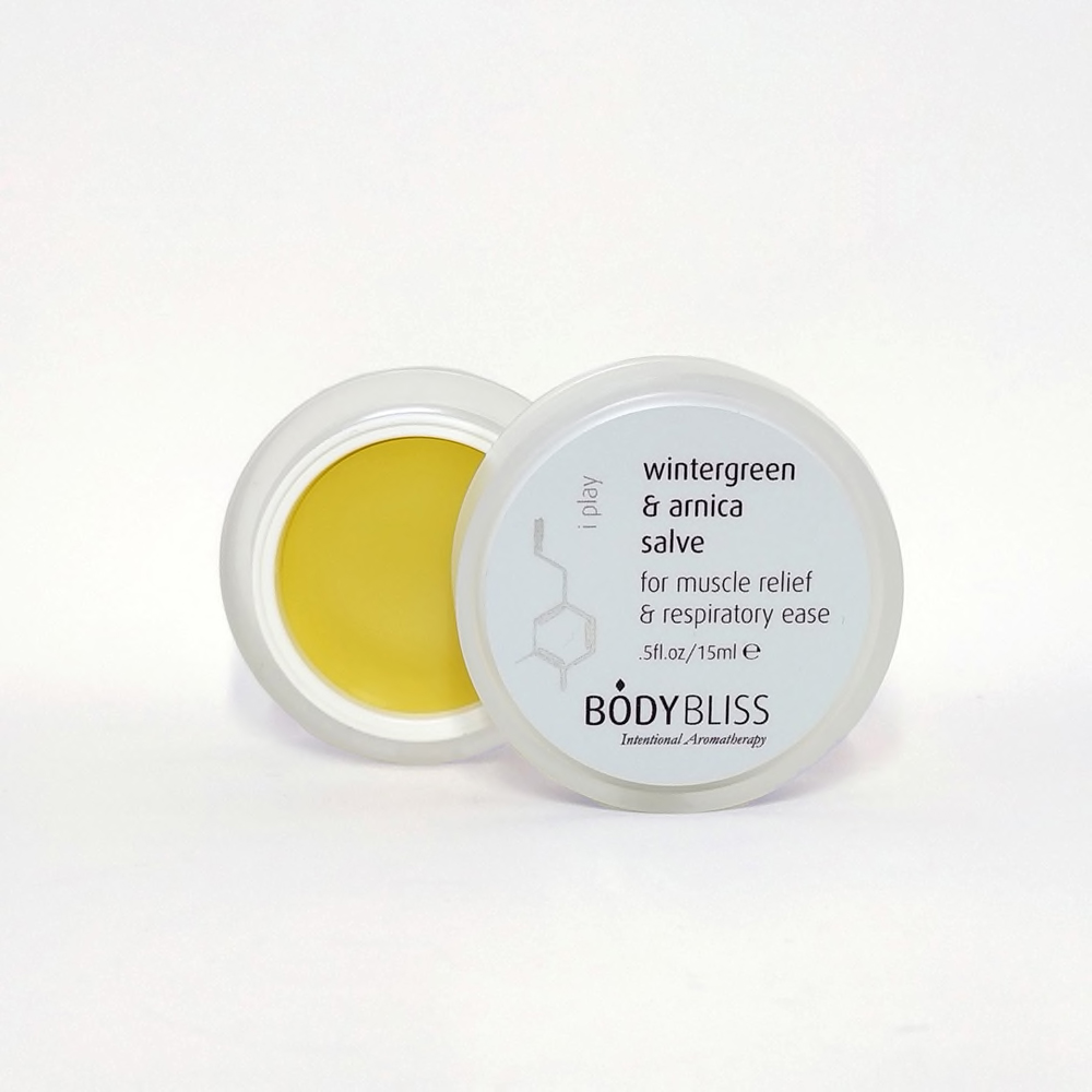 Wintergreen & Arnica Soothing Body Salve  I PLAY Wintergreen & Arnica Salve makes it easier than ever to have what you need while on the move. A potent CO2 extract of arnica flower and essential oils of immortelle, organic clove and peppermint are the powerhouses behind the I PLAY blend.