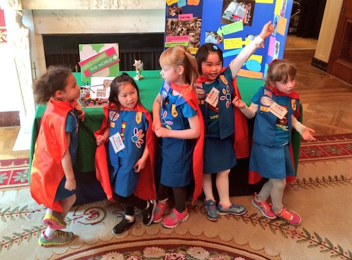 SuperGirls! Junior FIRST Lego League Team from Daisy Girl Scouts' troop 411 and their battery-powered page turner that could turn pages for people who are paralyzed or have arthritis.   Emily Bergenroth, Alicia Cutter, Karissa Cheng, Addy Oneal, and Emery Dodson, 6 (Tulsa, OK)