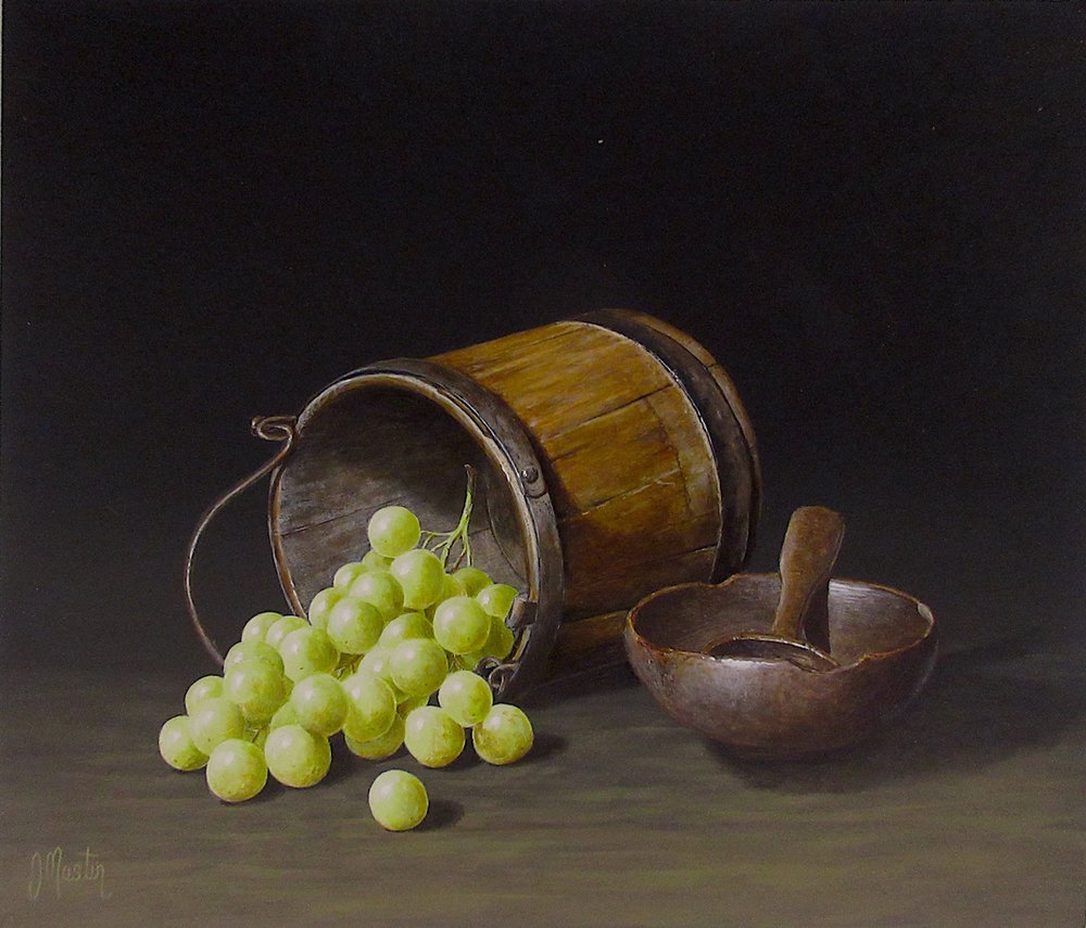Old Wooden Bucket with Grapes