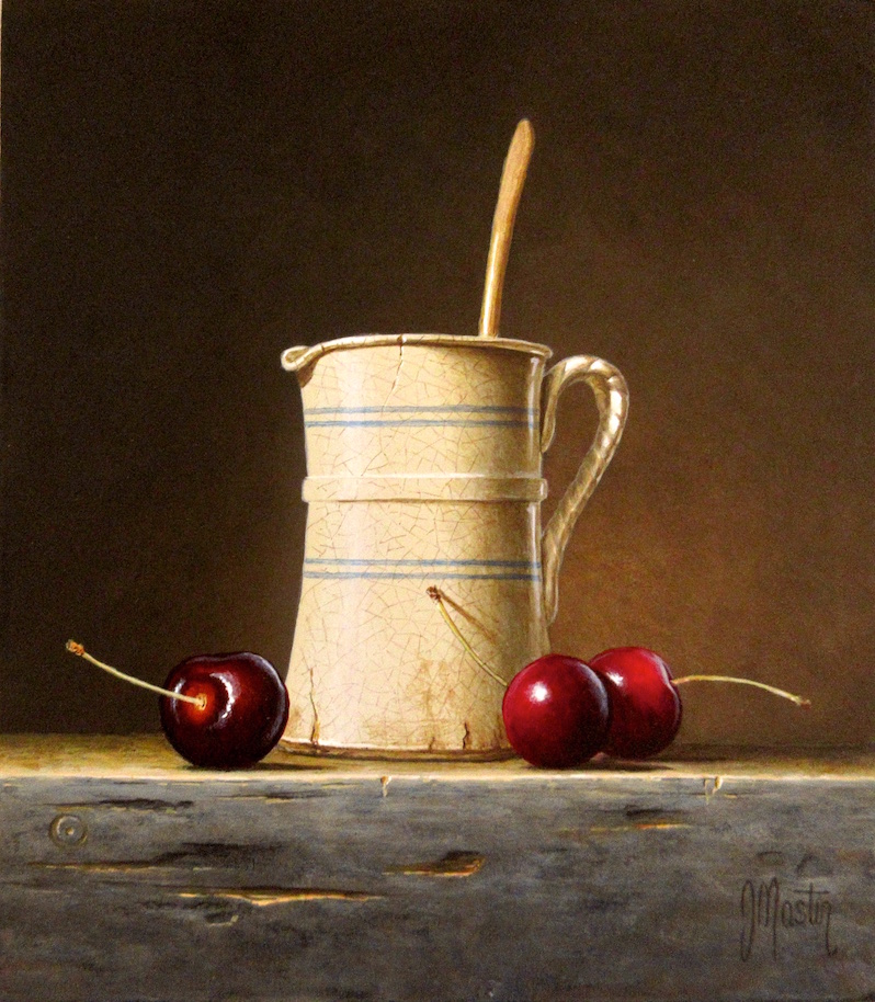Cherries with a Ceramic Pitcher