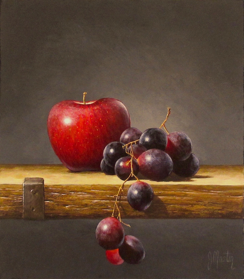 Red Apple with Grapes