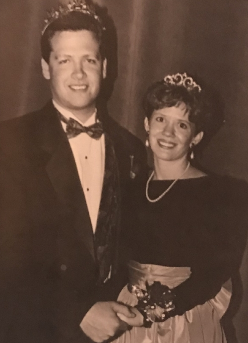 Tim and Melissa crowned Sioux Falls College Homecoming King & Queen, September 1992