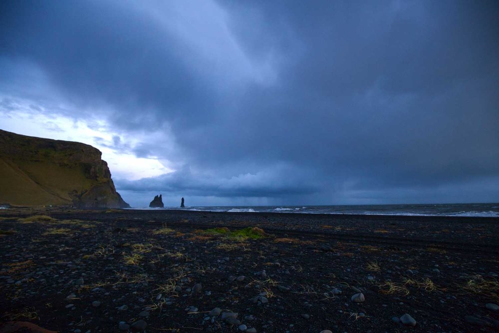 A storm moving in on Reynisfjara Black Sand Beach.