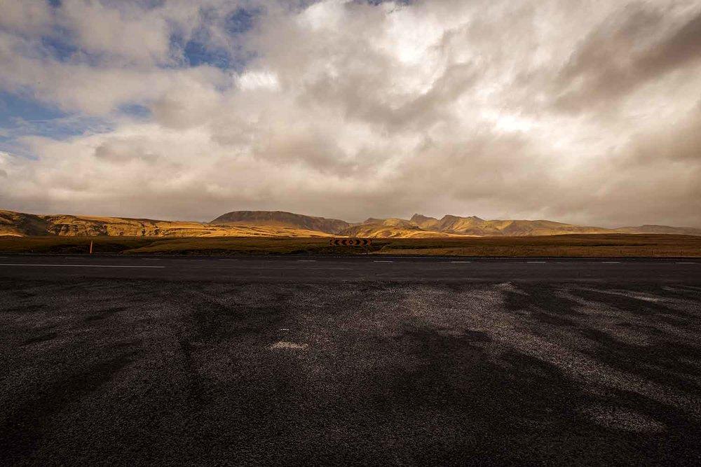 Road into Reynisfjara Black Sand Beach.