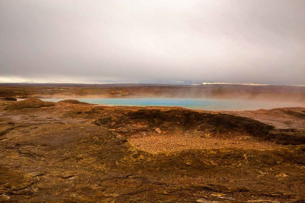 Geysir is large, but years can go by between eruptions here; it is currently in an inactive phase. When it does erupt, the water can shoot up in the air as high as 230 feet.