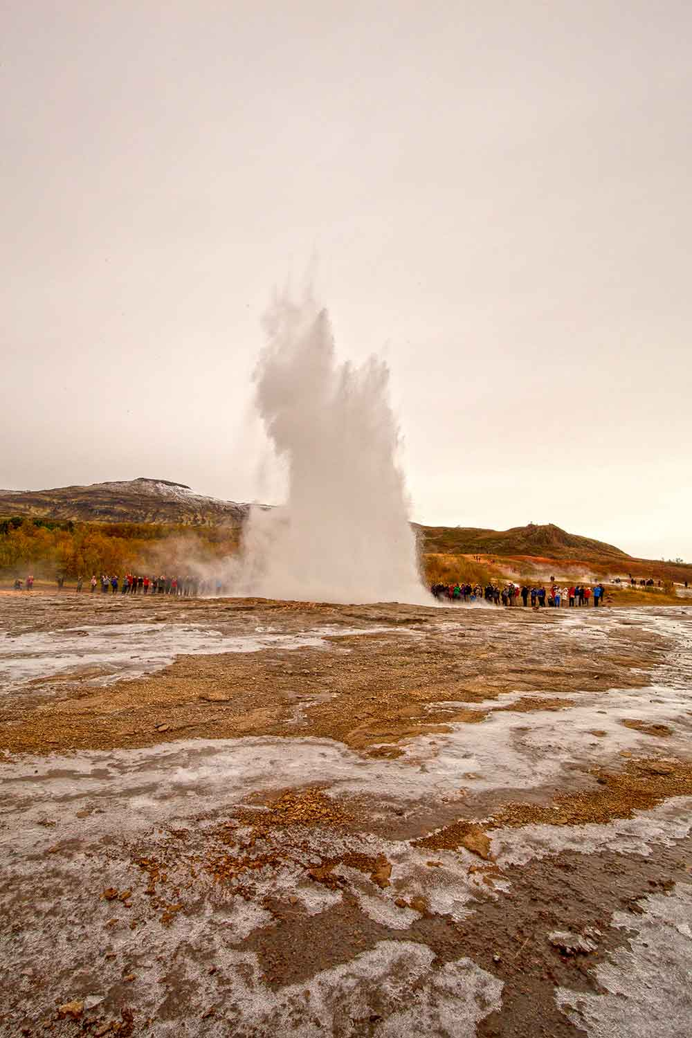 The most active geyser in the area is Strokkur. It sprouts hot water as high as 30 meters into the air every few minutes!