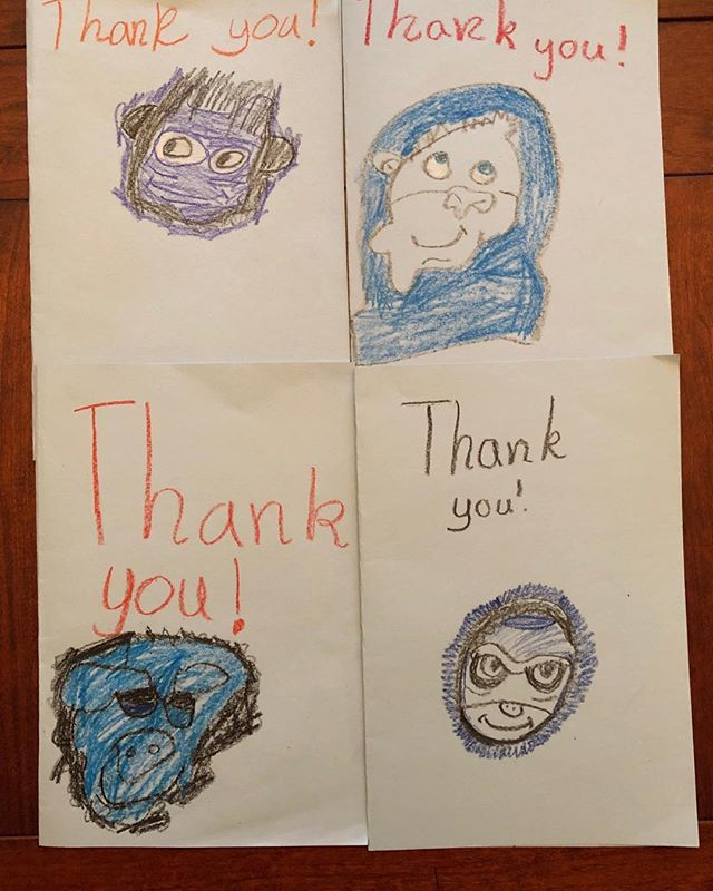 Samples of some really fun thank you notes from little Generals after this week's reading with MacArthur Elementary School first graders 😀 @perryedfound  @perry_township_kids  @bngreenwoodin
