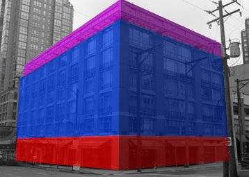 - Take this building for example. The primary piece is built out of 3 sections. The base is used for store fronts, restaurants and the lobby (red). Above that is the office or residential area (blue). Above that is the penthouse suite or roof top access area (purple). These 3 sections are separated and are easily visible, especially once you block them out.