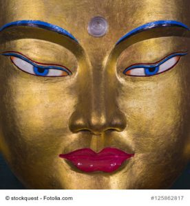 Golden statue of Sakyamuni Buddha, Nyinmapa Tibetan Buddhist Temple,Manali, Himachal Pradesh, India