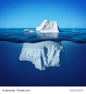 Underwater view of iceberg