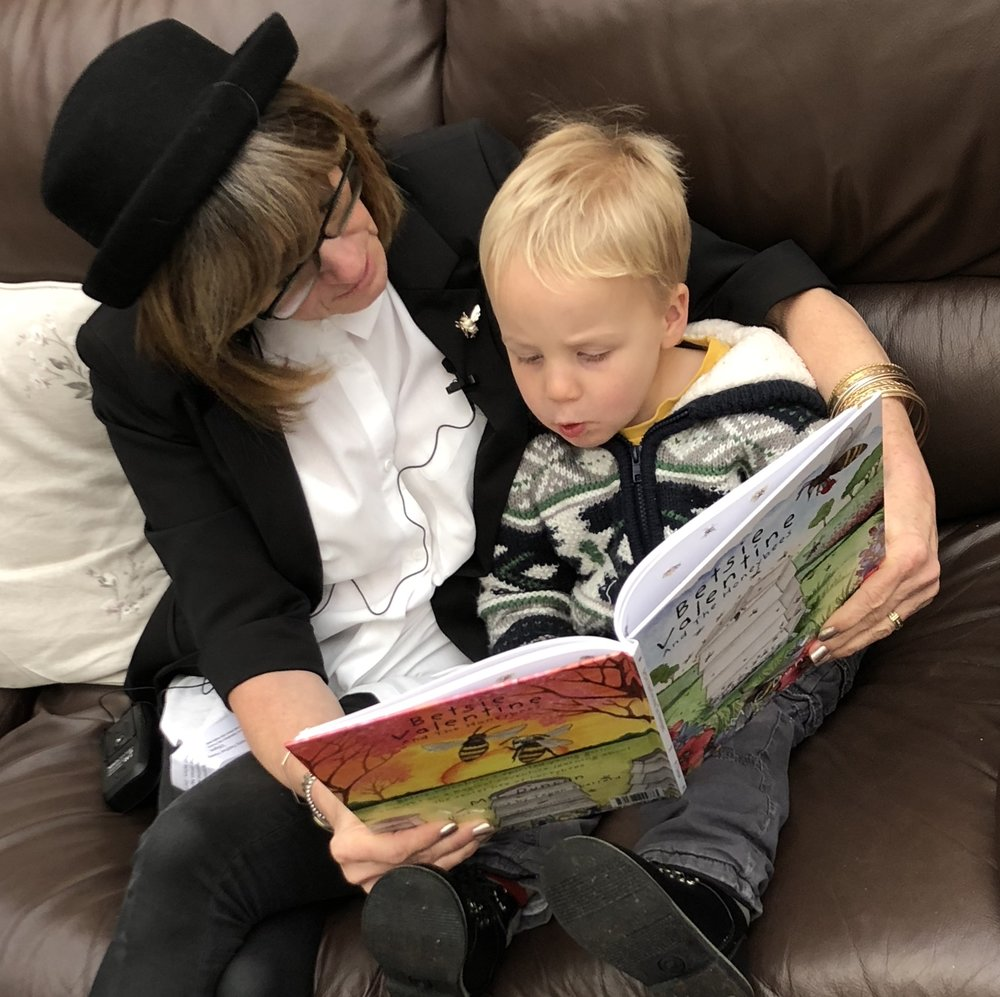 Sweet little Henry who kept on coming back and asking me to read to him.. Age three and a half! What a sweetie and fuels my thoughts that there is no age limit, neither young nor old on Betsie Valentine And The Honeybees!