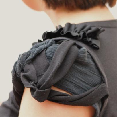 Chiffon and knit sleeve detail.