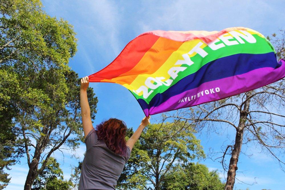 The official flag of Lesbian Jesus, Hayley Kiyoko.