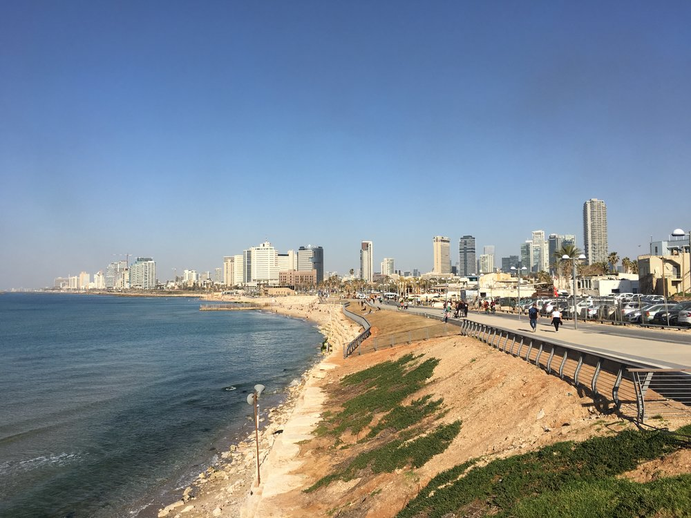 A view of the more modern part of Tel Aviv from the Jaffa Seawall.