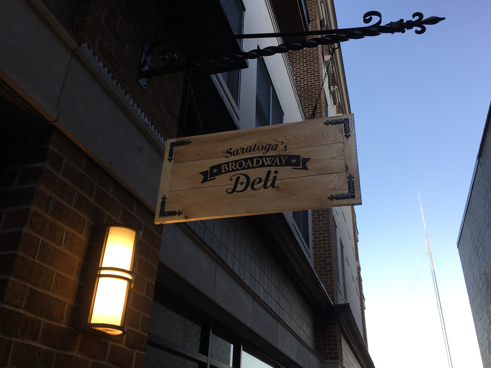 Saratoga's Broadway Deli sign.