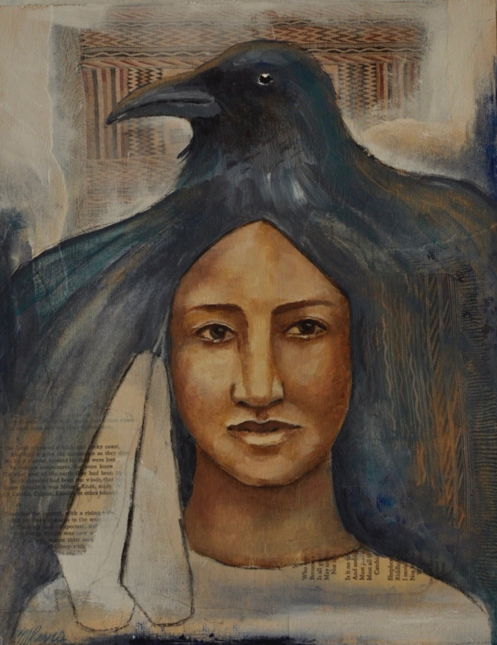 Raven Voice Mixed Media Painting by Melanie Rivers