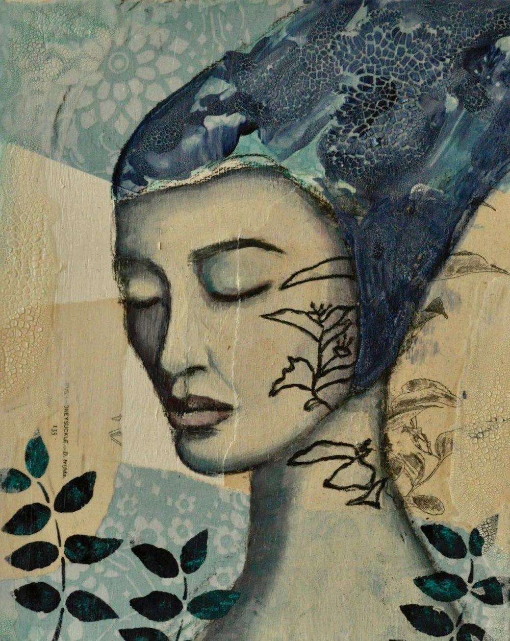 Between Roots and Rings Mixed Media Painting by Melanie Rivers