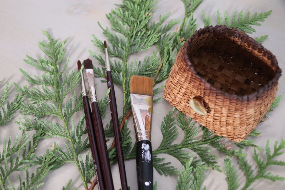 Cedar bows and cedar basket with paint brushes