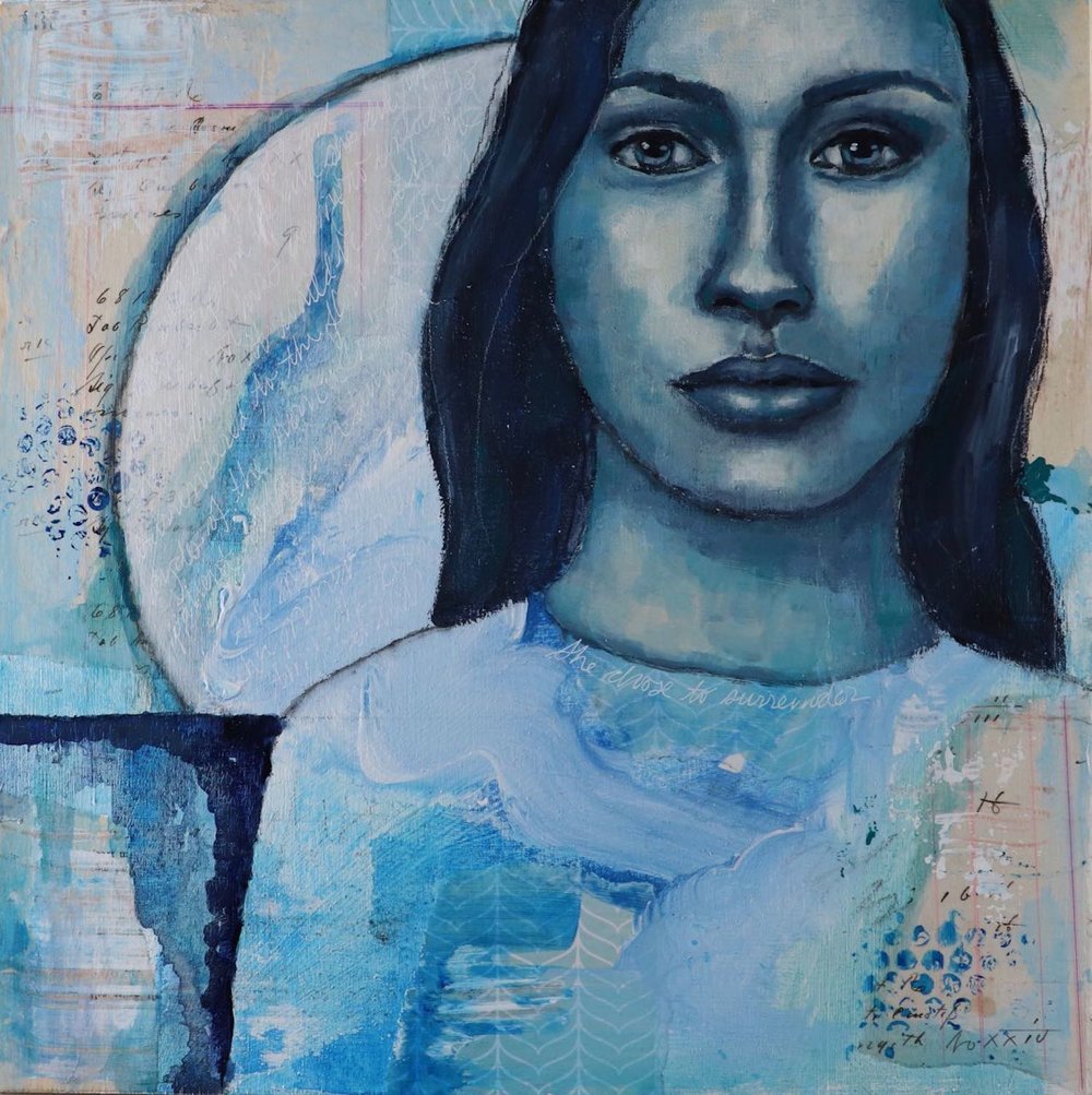 Moon Woman Mixed Media Painting by Melanie Rivers
